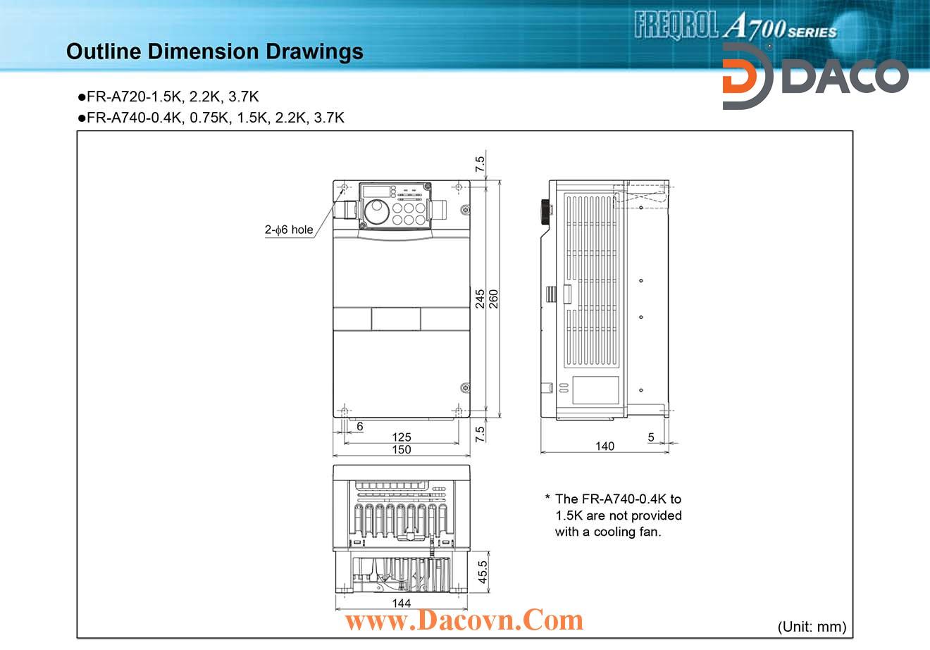 Bien tan Mitsubishi FR-A720-1.5K-2.2K- 3.7K_Dimension