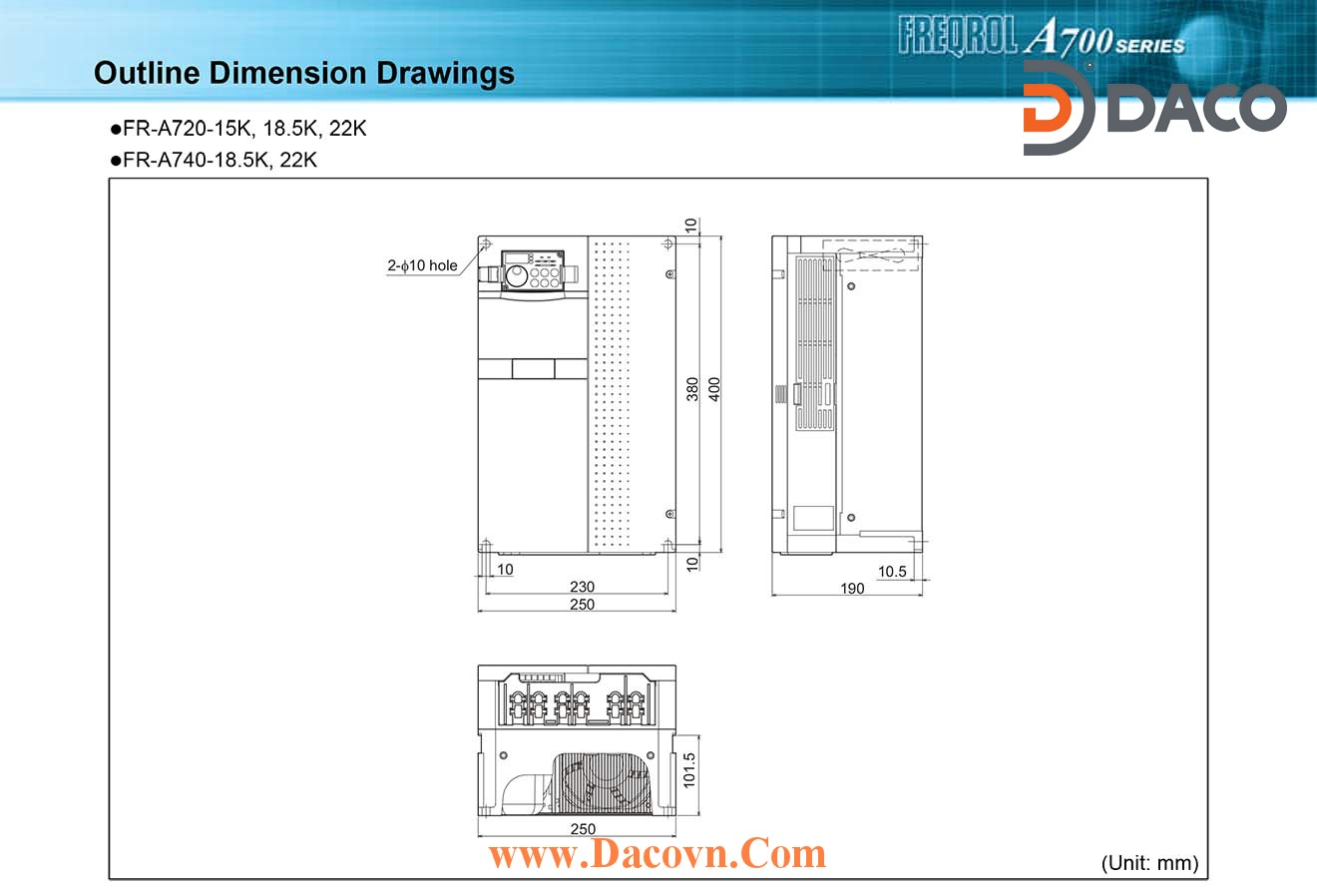 Bien tan Mitsubishi FR-A720-15K-18.5K-22K_Dimension