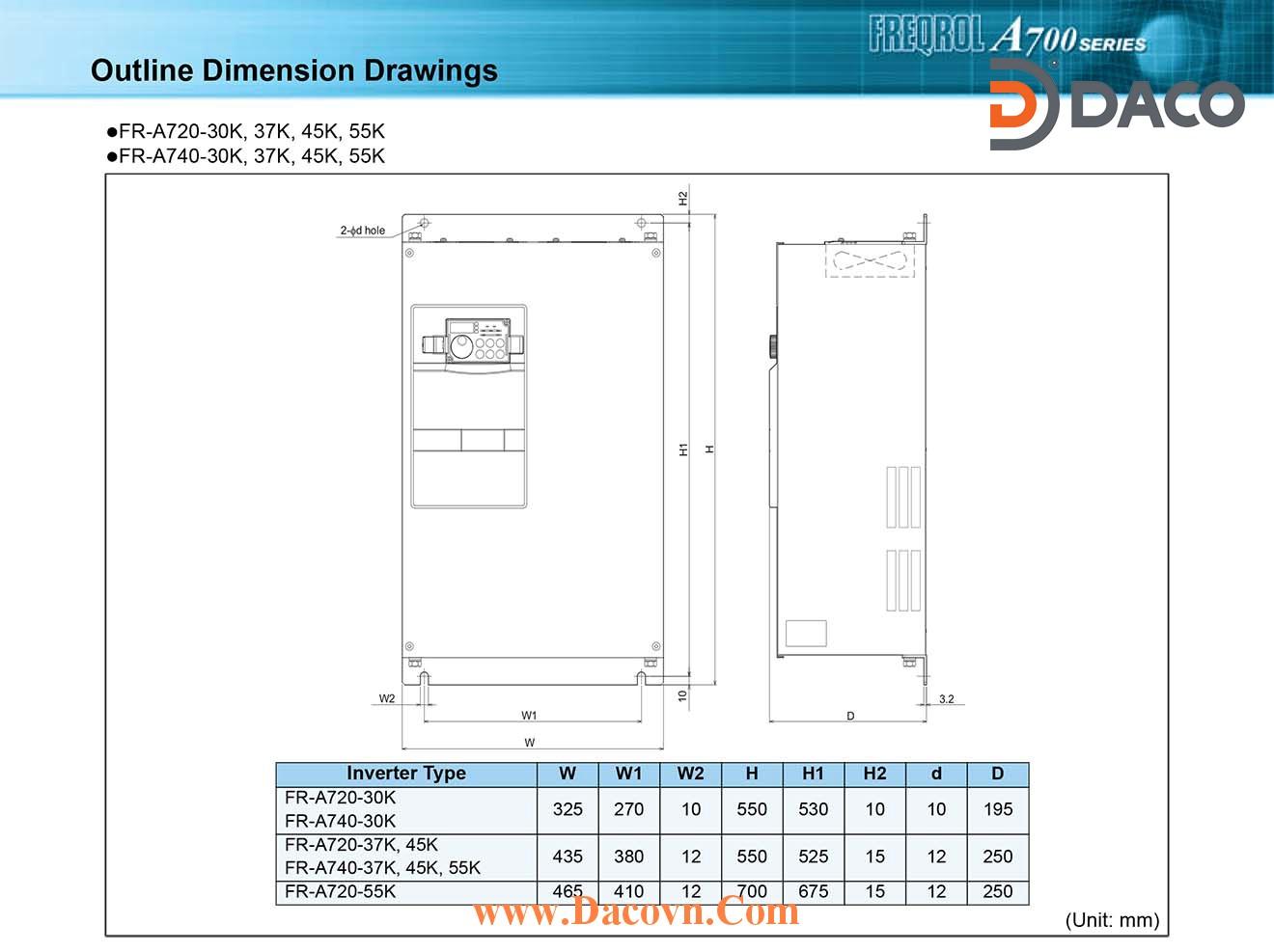 Bien tan Mitsubishi FR-A720-30K-37K-45K-55K_Dimension