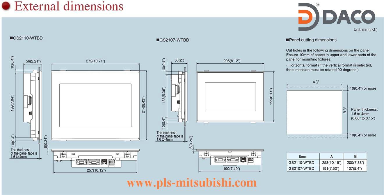 Man hinh cam ung HMI Mitsubishi GS2107-GS2110 Dimensions